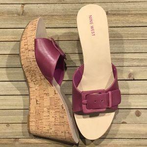 New Nine West Dark Purple Wedge Sandals Sz 10